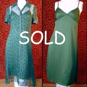 JONATHAN MARTIN VINTAGE green silk dress 8P
